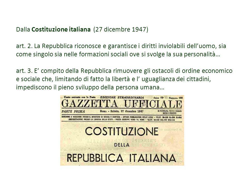 Dalla Costituzione italiana (27 dicembre 1947) art. 2