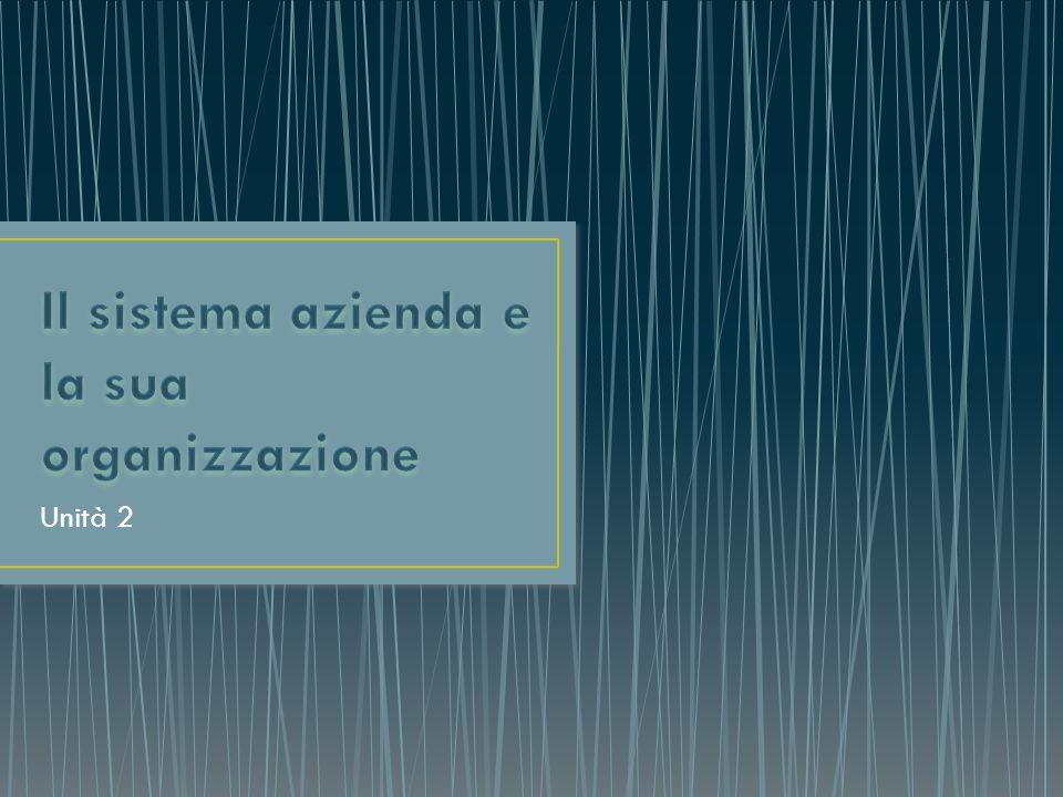 Il sistema azienda e la sua organizzazione