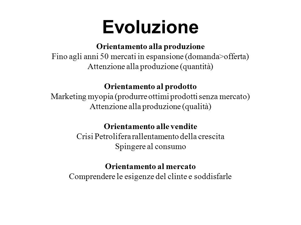 Evoluzione Orientamento alla produzione