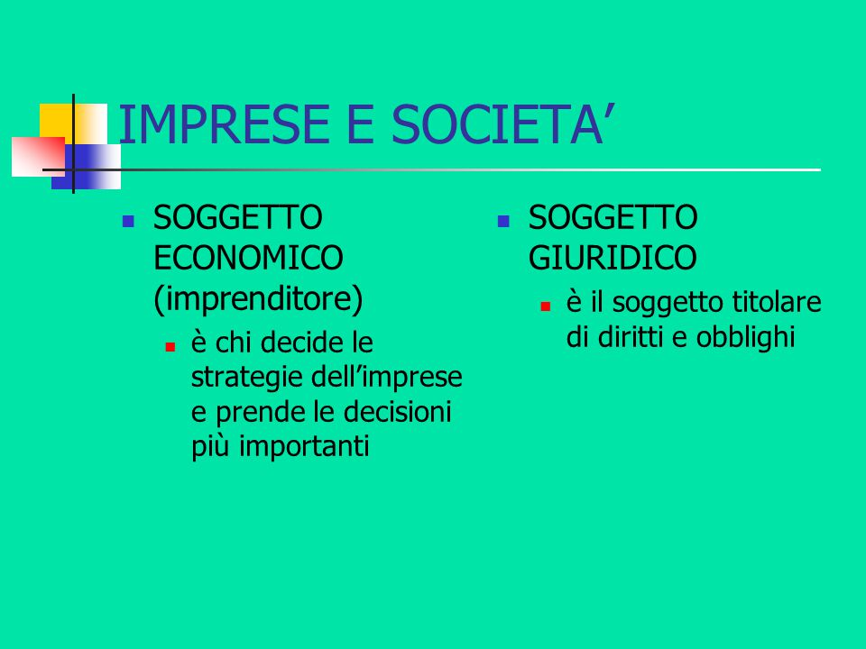 IMPRESE E SOCIETA' SOGGETTO ECONOMICO (imprenditore)