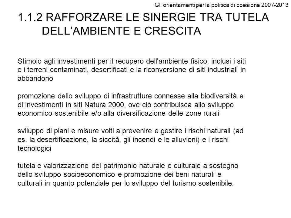1.1.2 RAFFORZARE LE SINERGIE TRA TUTELA DELL'AMBIENTE E CRESCITA