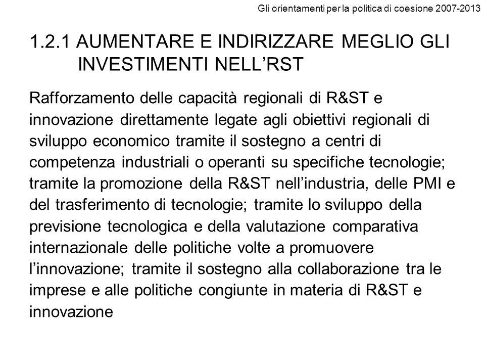1.2.1 AUMENTARE E INDIRIZZARE MEGLIO GLI INVESTIMENTI NELL'RST