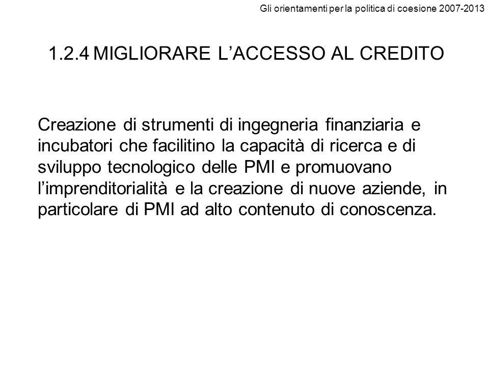 1.2.4 MIGLIORARE L'ACCESSO AL CREDITO