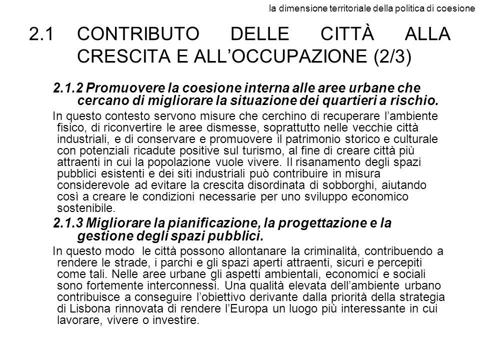 2.1 CONTRIBUTO DELLE CITTÀ ALLA CRESCITA E ALL'OCCUPAZIONE (2/3)