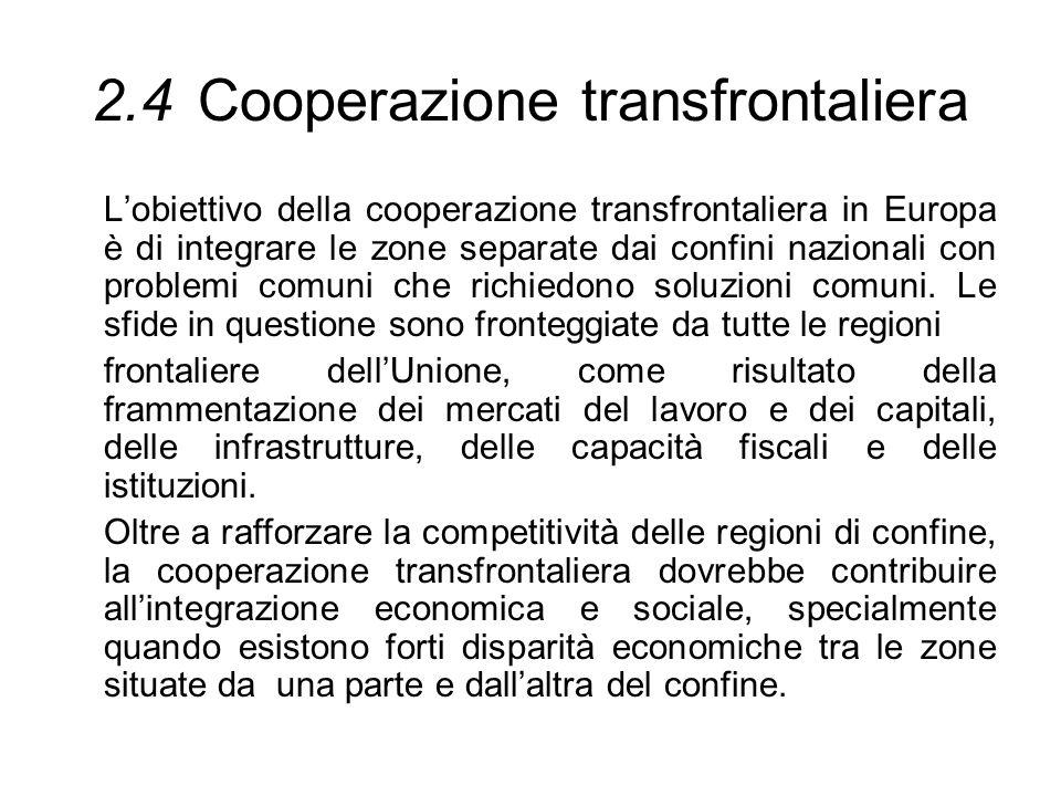2.4 Cooperazione transfrontaliera
