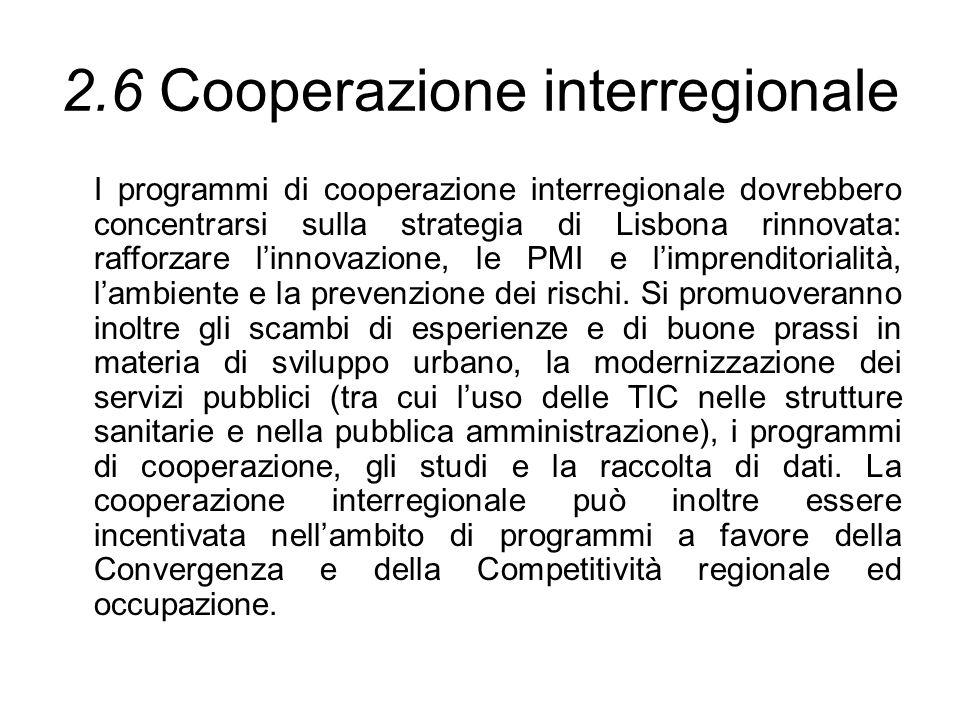 2.6 Cooperazione interregionale