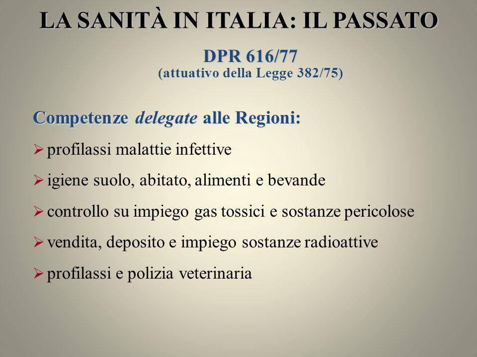 LA SANITÀ IN ITALIA: IL PASSATO (attuativo della Legge 382/75)