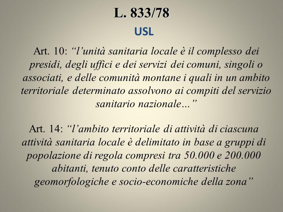 L. 833/78 USL.