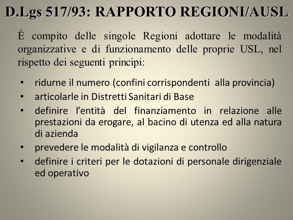 D.Lgs 517/93: RAPPORTO REGIONI/AUSL