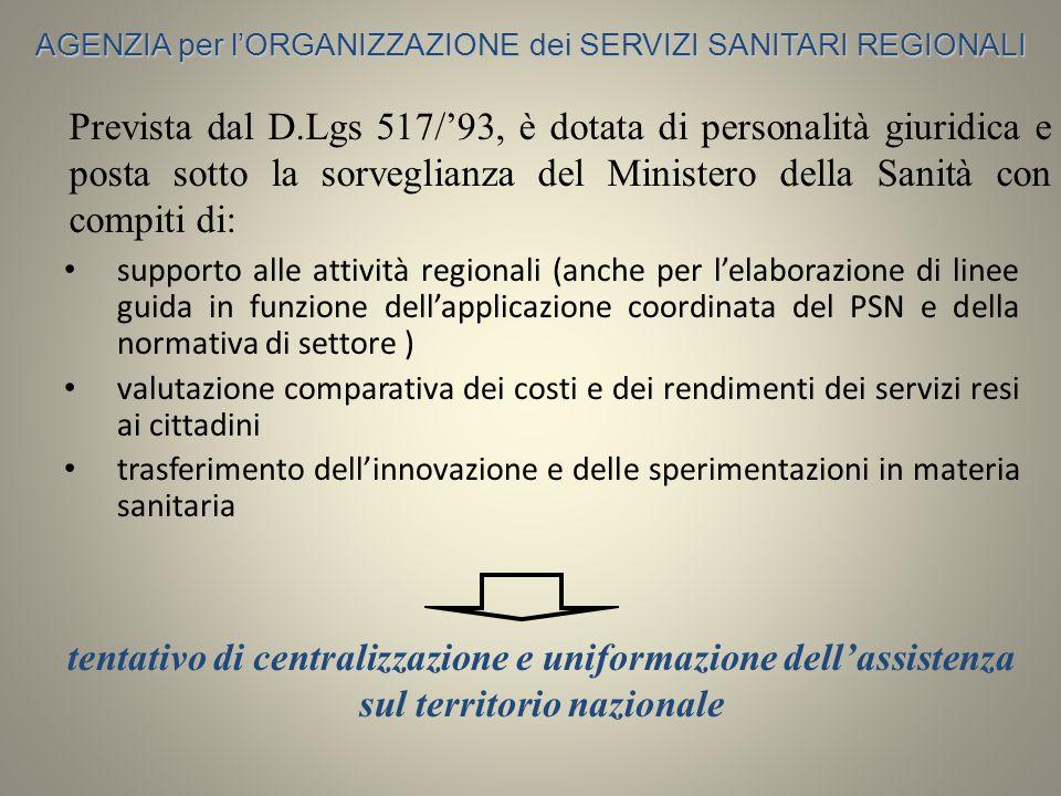 AGENZIA per l'ORGANIZZAZIONE dei SERVIZI SANITARI REGIONALI