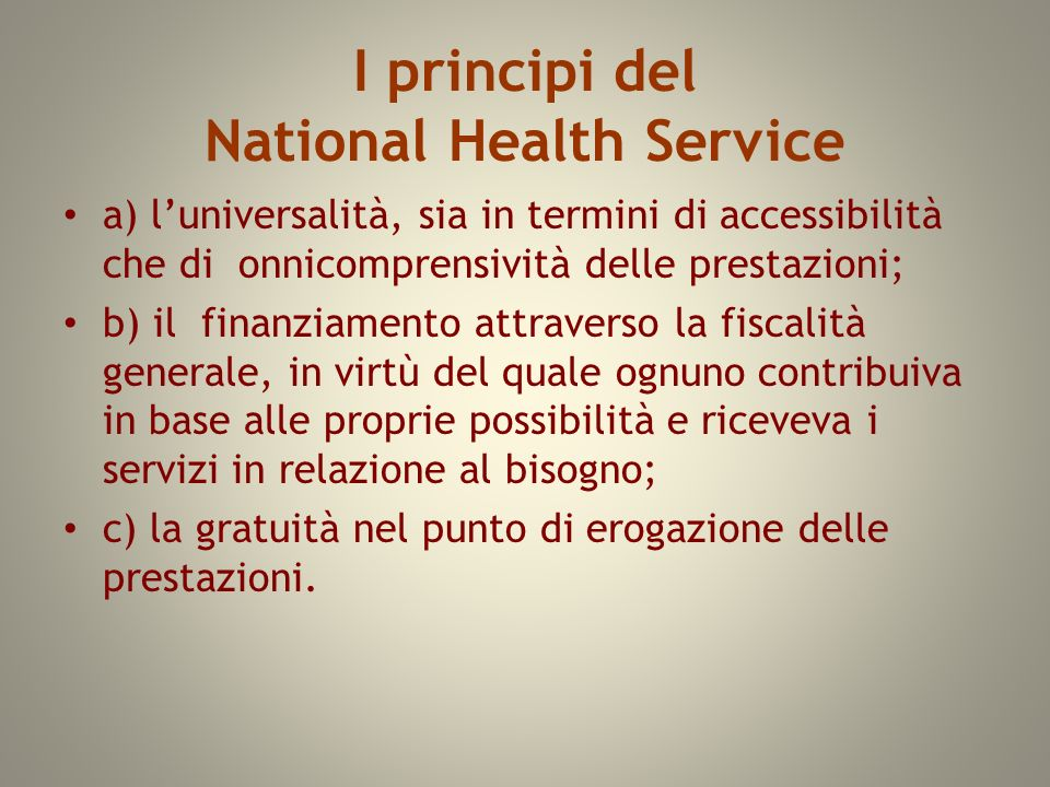 I principi del National Health Service