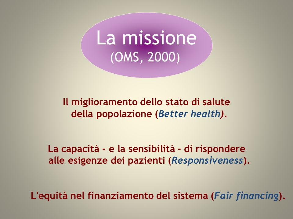 La missione (OMS, 2000) Il miglioramento dello stato di salute