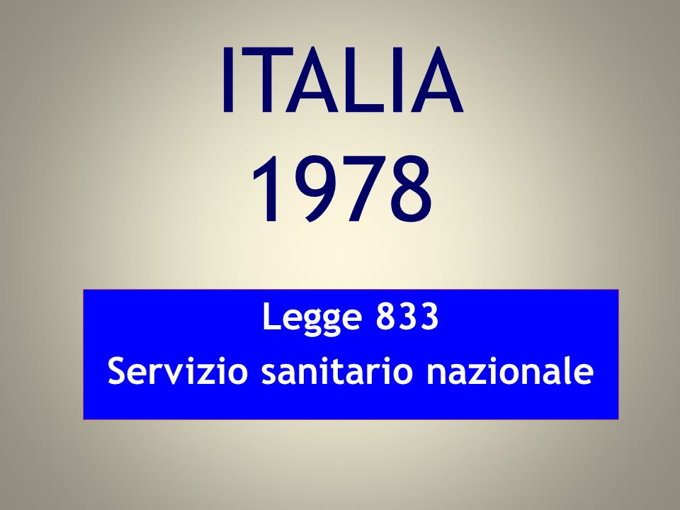 Legge 833 Servizio sanitario nazionale