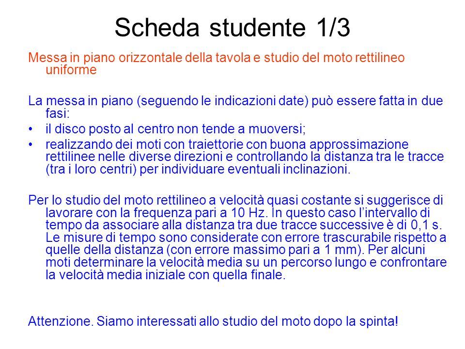Scheda studente 1/3Messa in piano orizzontale della tavola e studio del moto rettilineo uniforme.