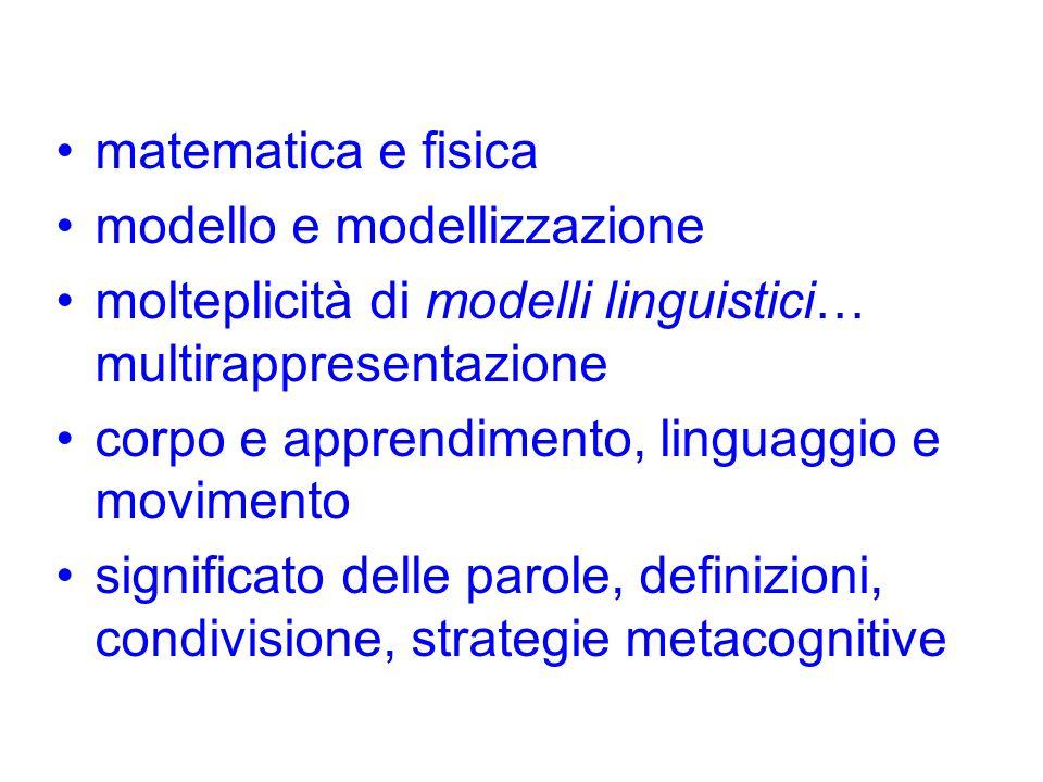 matematica e fisicamodello e modellizzazione. molteplicità di modelli linguistici… multirappresentazione.