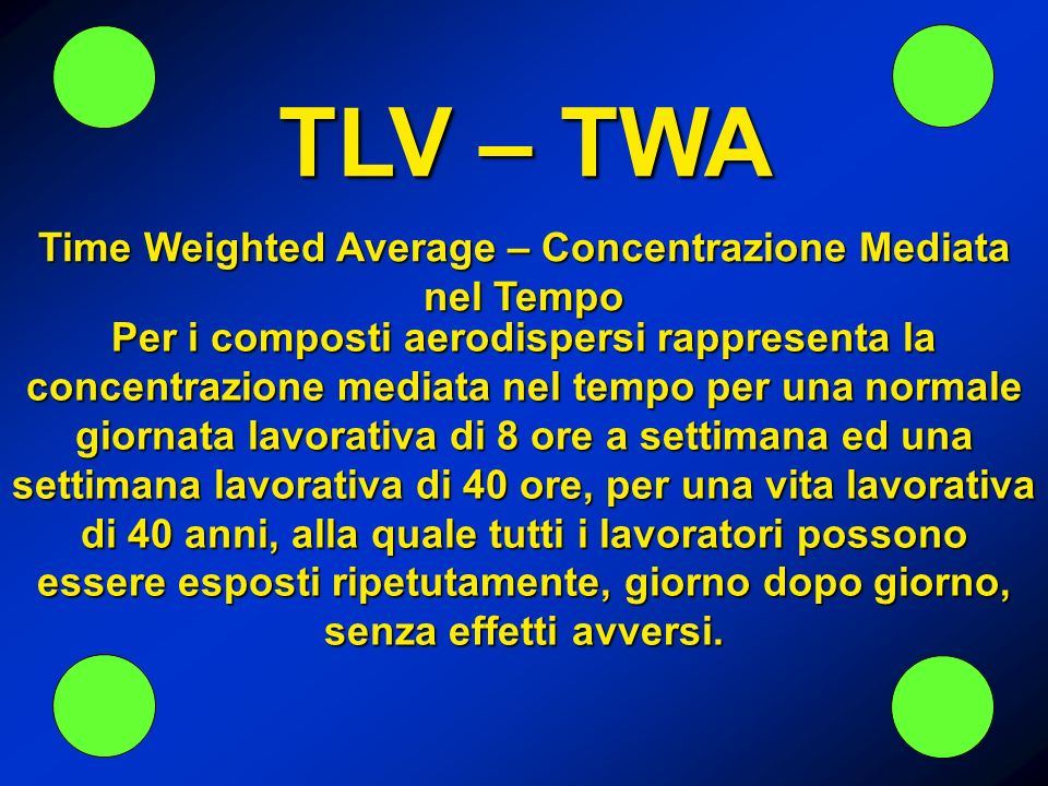 Time Weighted Average – Concentrazione Mediata nel Tempo