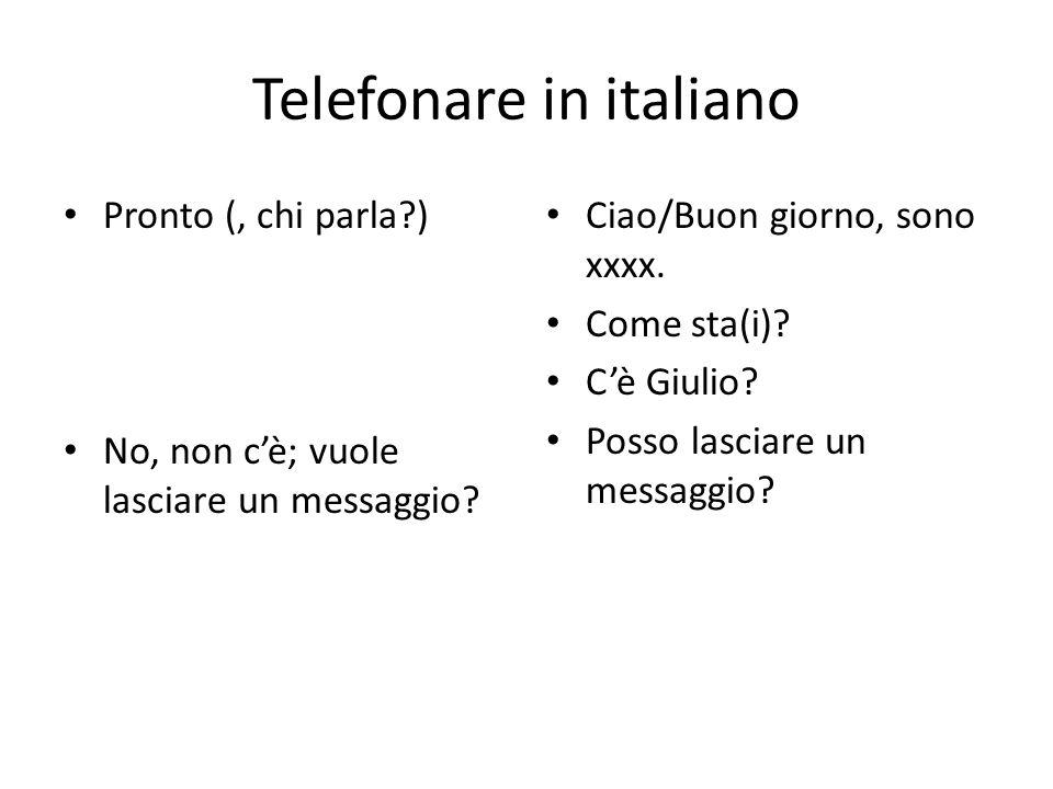 Telefonare in italiano