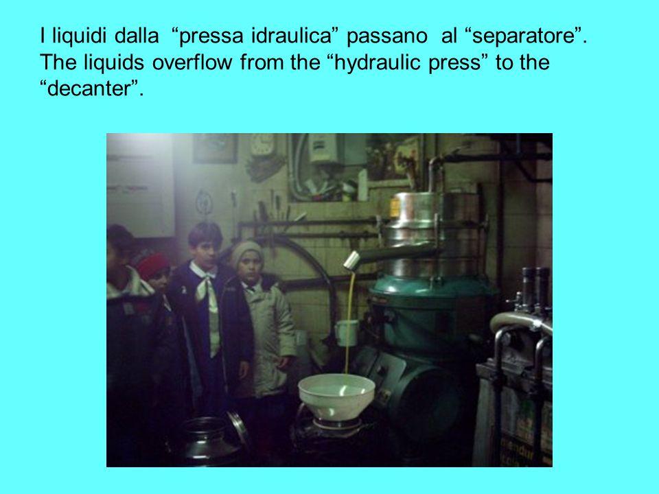 I liquidi dalla. pressa idraulica passano al separatore