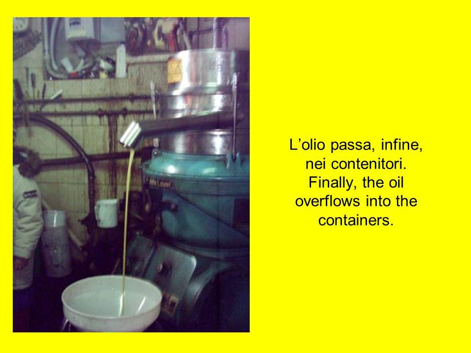 L'olio passa, infine, nei contenitori