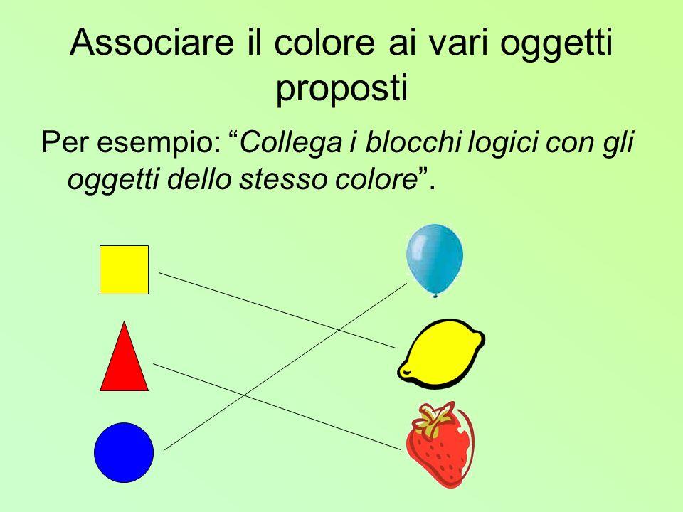 Associare il colore ai vari oggetti proposti