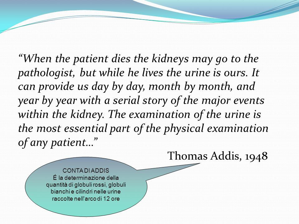 When the patient dies the kidneys may go to the pathologist, but while he lives the urine is ours. It can provide us day by day, month by month, and year by year with a serial story of the major events within the kidney. The examination of the urine is the most essential part of the physical examination of any patient… Thomas Addis, 1948