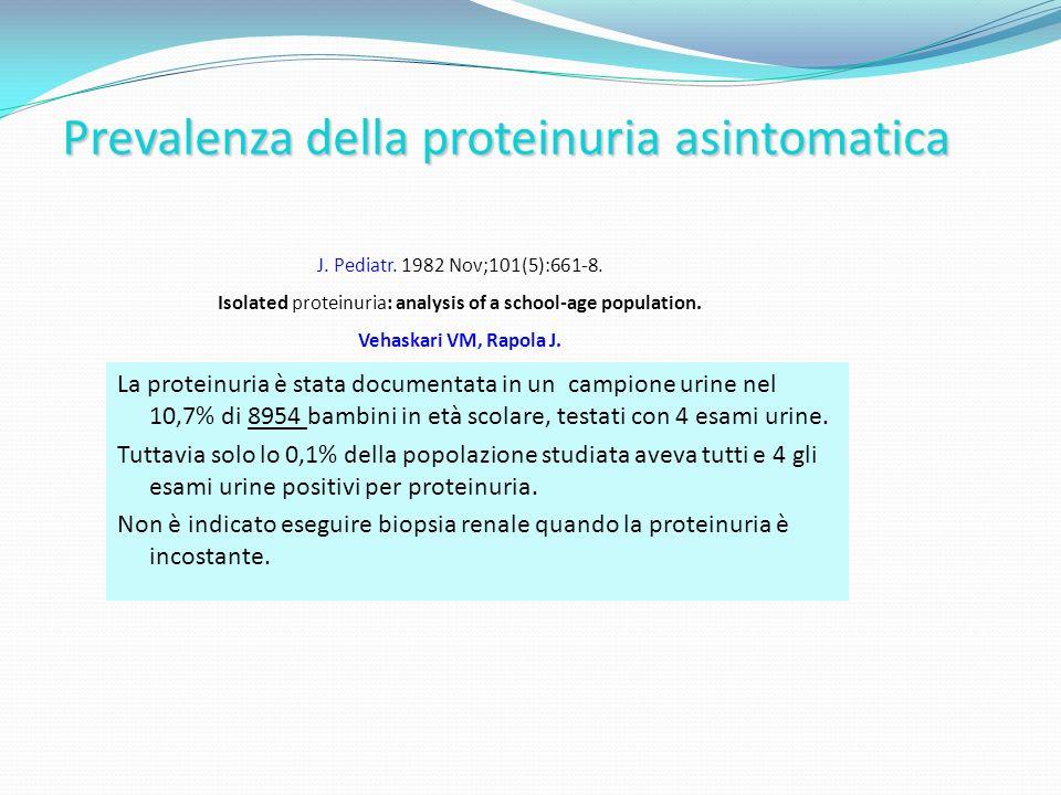 Prevalenza della proteinuria asintomatica