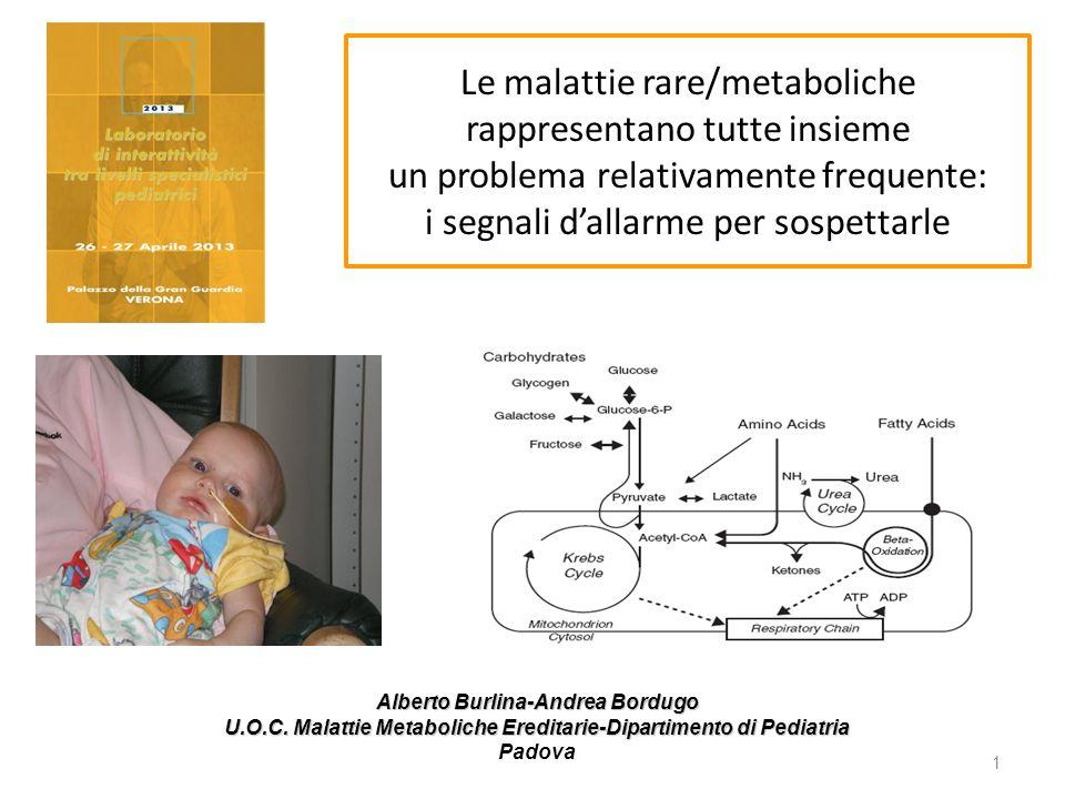 Le malattie rare/metaboliche rappresentano tutte insieme un problema relativamente frequente: i segnali d'allarme per sospettarle