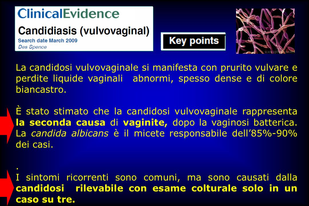 La candidosi vulvovaginale si manifesta con prurito vulvare e perdite liquide vaginali abnormi, spesso dense e di colore biancastro.