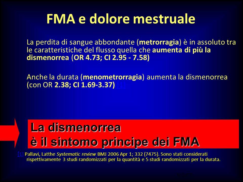 FMA e dolore mestruale La dismenorrea è il sintomo principe dei FMA