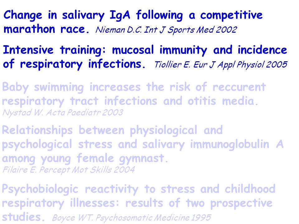 Change in salivary IgA following a competitive marathon race. Nieman D
