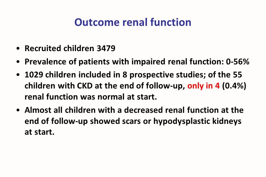 Outcome renal function