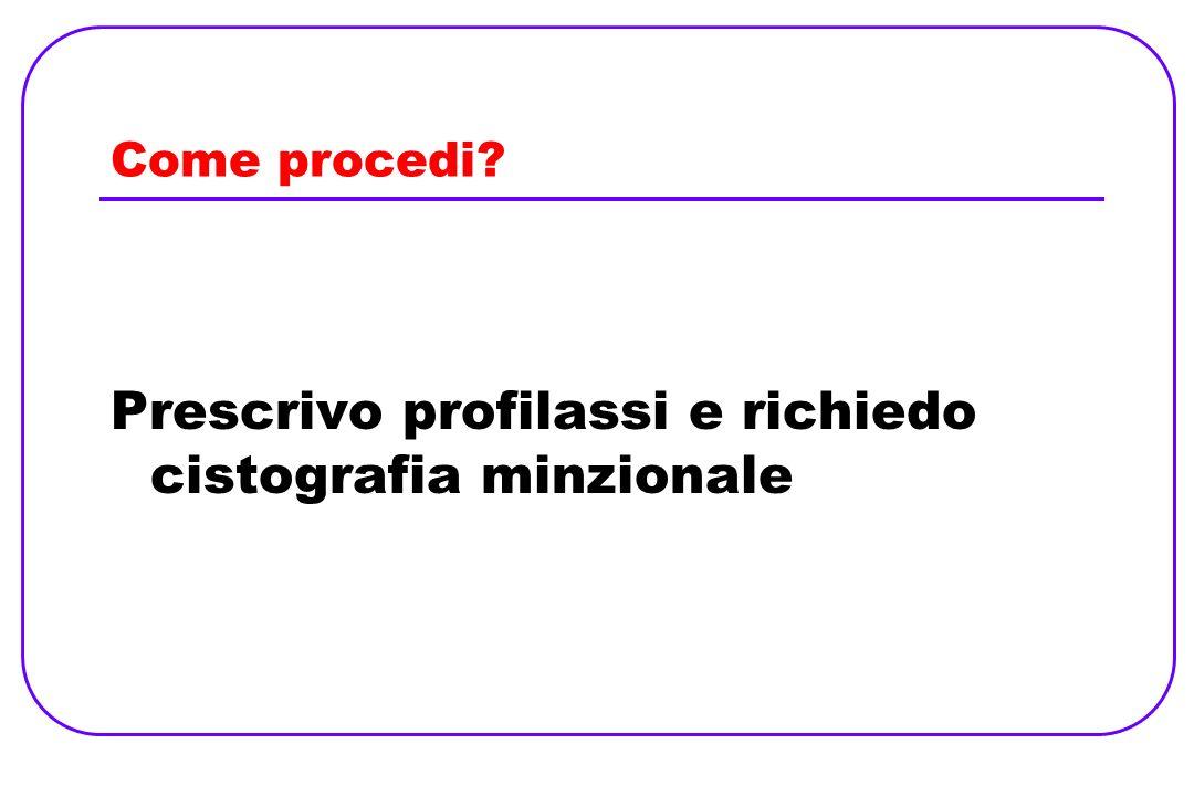 Prescrivo profilassi e richiedo cistografia minzionale
