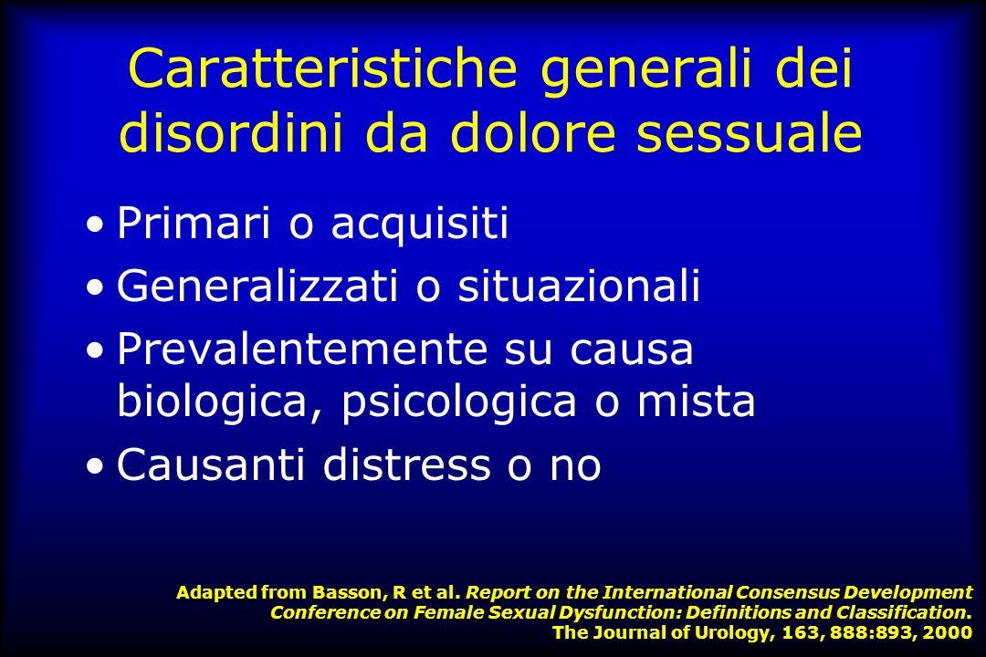 Caratteristiche generali dei disordini da dolore sessuale
