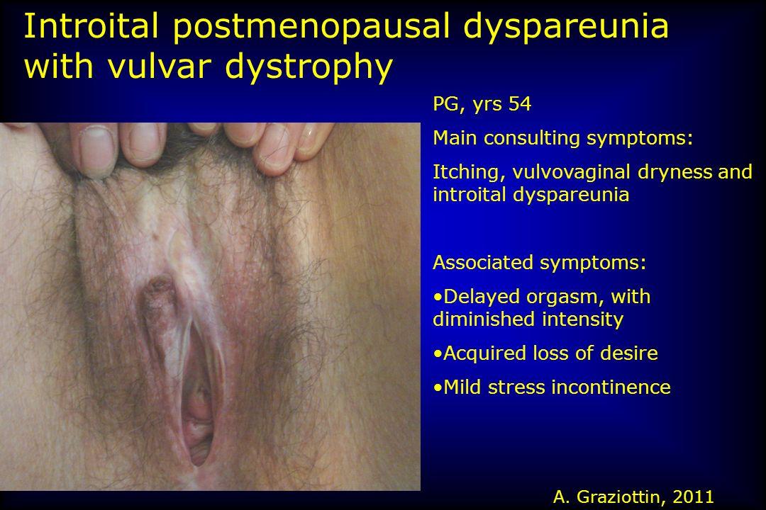 Introital postmenopausal dyspareunia with vulvar dystrophy