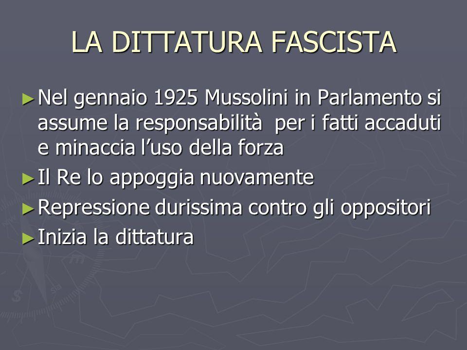 LA DITTATURA FASCISTA Nel gennaio 1925 Mussolini in Parlamento si assume la responsabilità per i fatti accaduti e minaccia l'uso della forza.