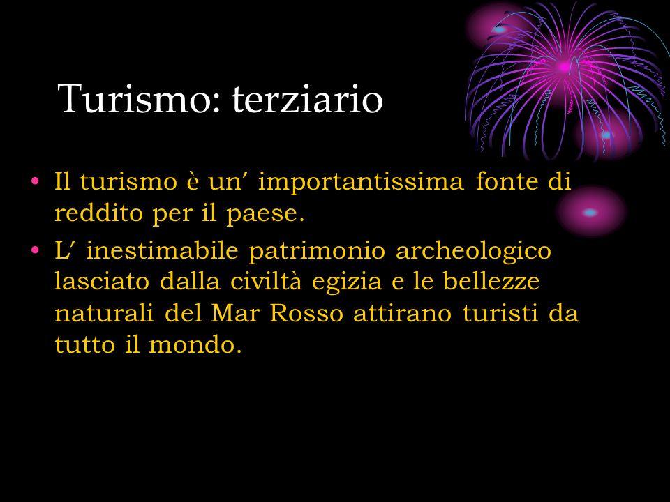 Turismo: terziario Il turismo è un' importantissima fonte di reddito per il paese.