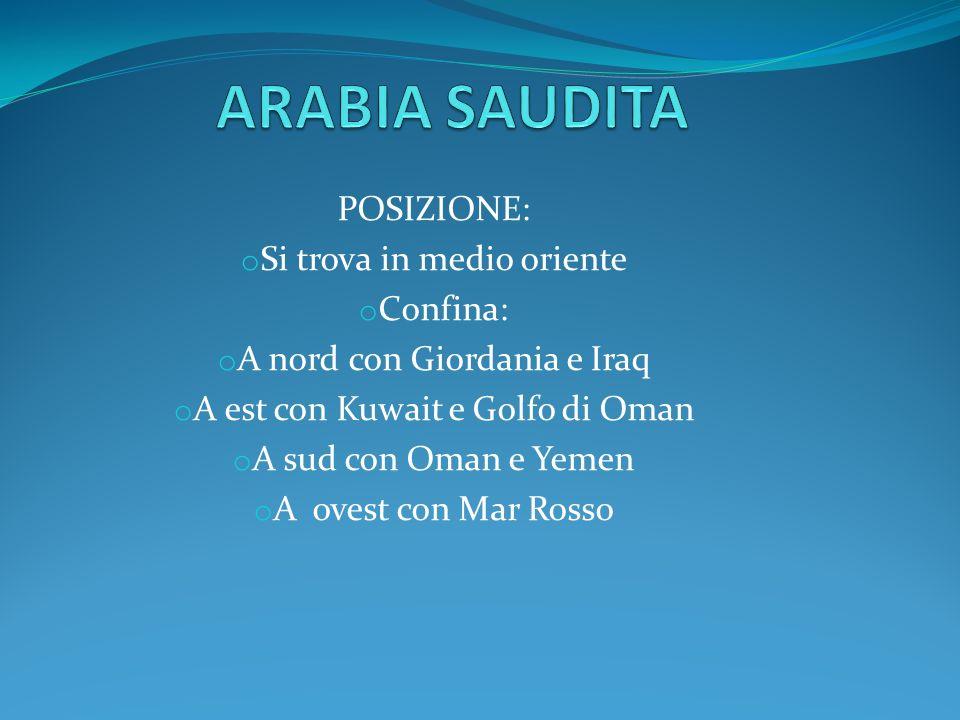 ARABIA SAUDITA POSIZIONE: Si trova in medio oriente Confina: