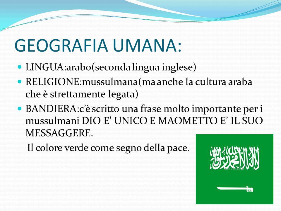 GEOGRAFIA UMANA: LINGUA:arabo(seconda lingua inglese)