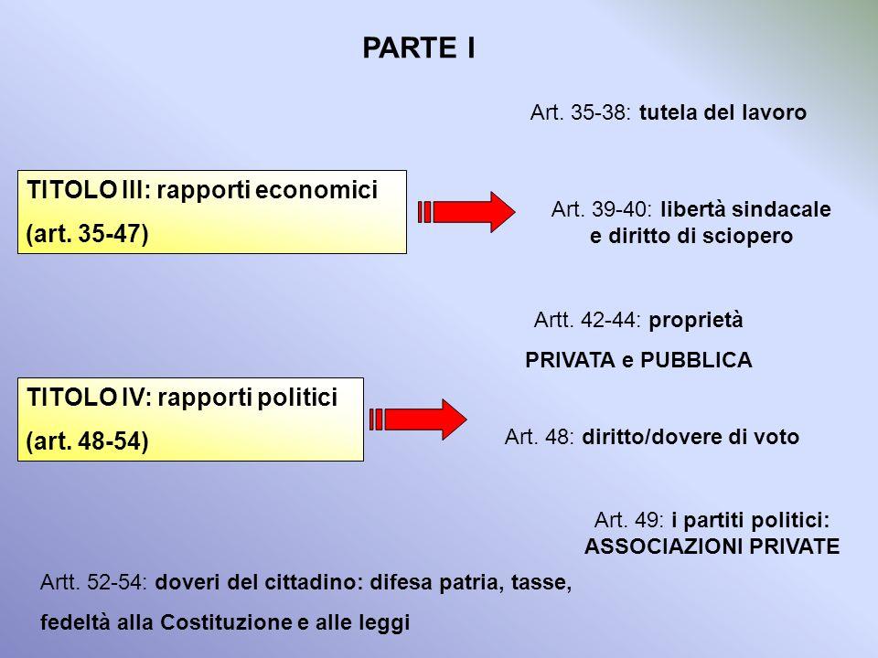PARTE I TITOLO III: rapporti economici (art. 35-47)