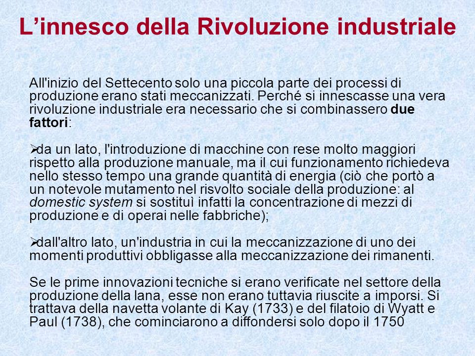 L'innesco della Rivoluzione industriale