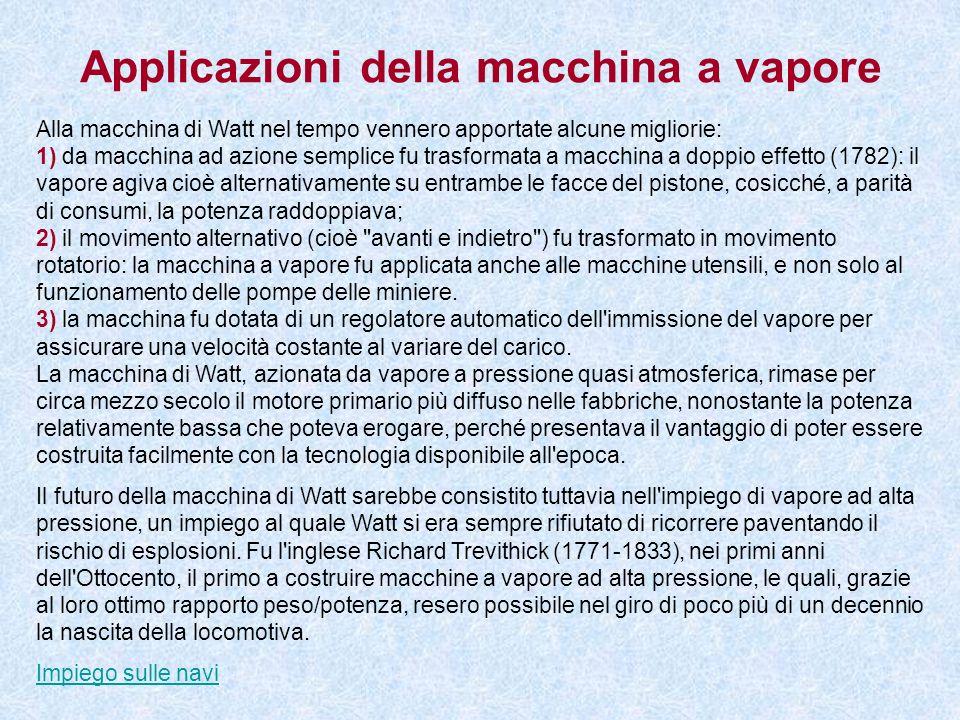 Applicazioni della macchina a vapore