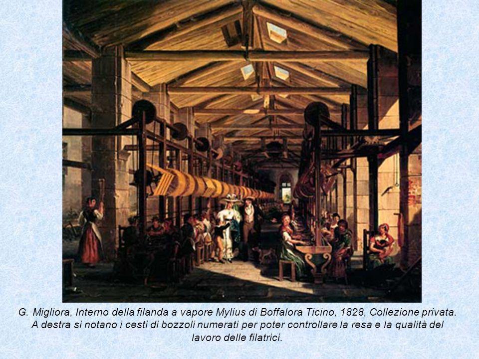 G. Migliora, Interno della filanda a vapore Mylius di Boffalora Ticino, 1828, Collezione privata.