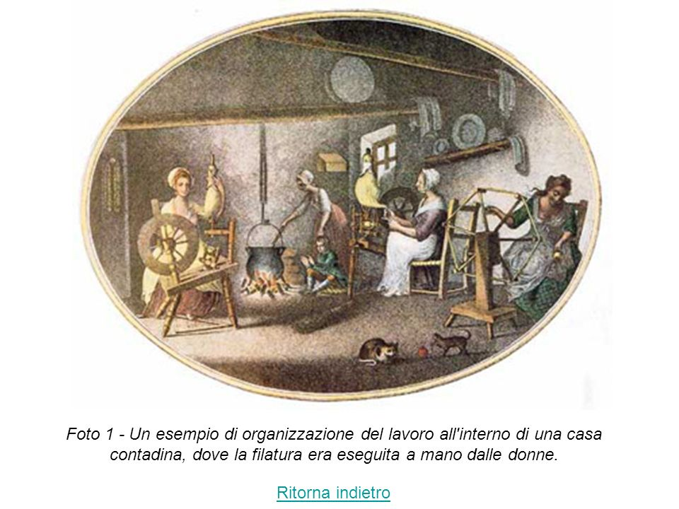 Foto 1 - Un esempio di organizzazione del lavoro all interno di una casa contadina, dove la filatura era eseguita a mano dalle donne.