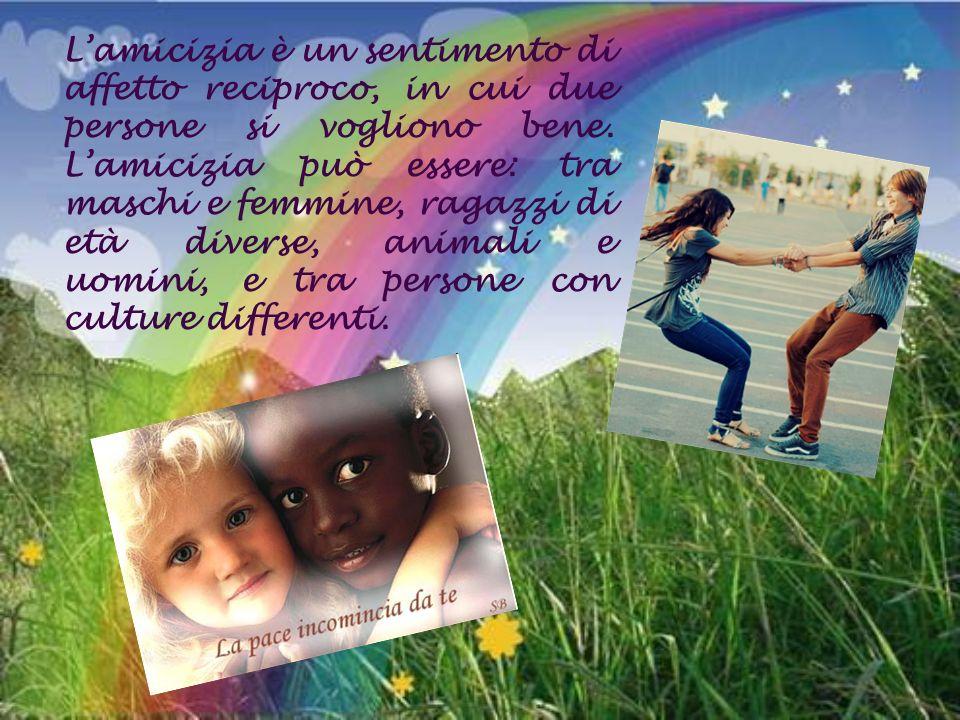 L'amicizia è un sentimento di affetto reciproco, in cui due persone si vogliono bene.