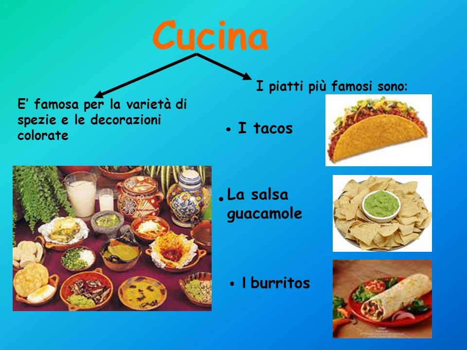 Cucina I tacos La salsa guacamole I burritos I piatti più famosi sono: