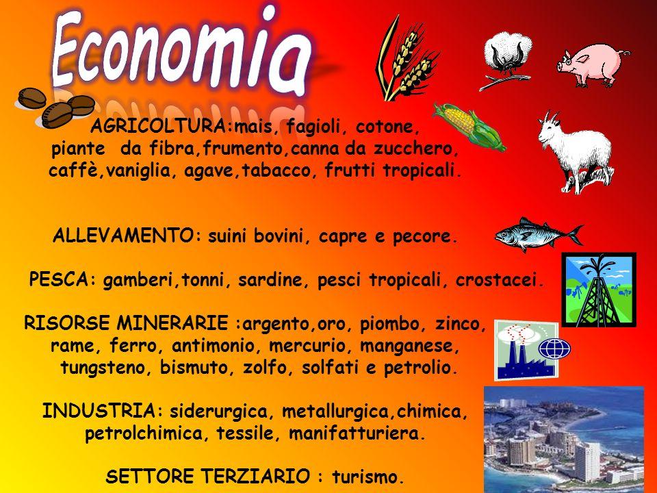 Economia AGRICOLTURA:mais, fagioli, cotone,