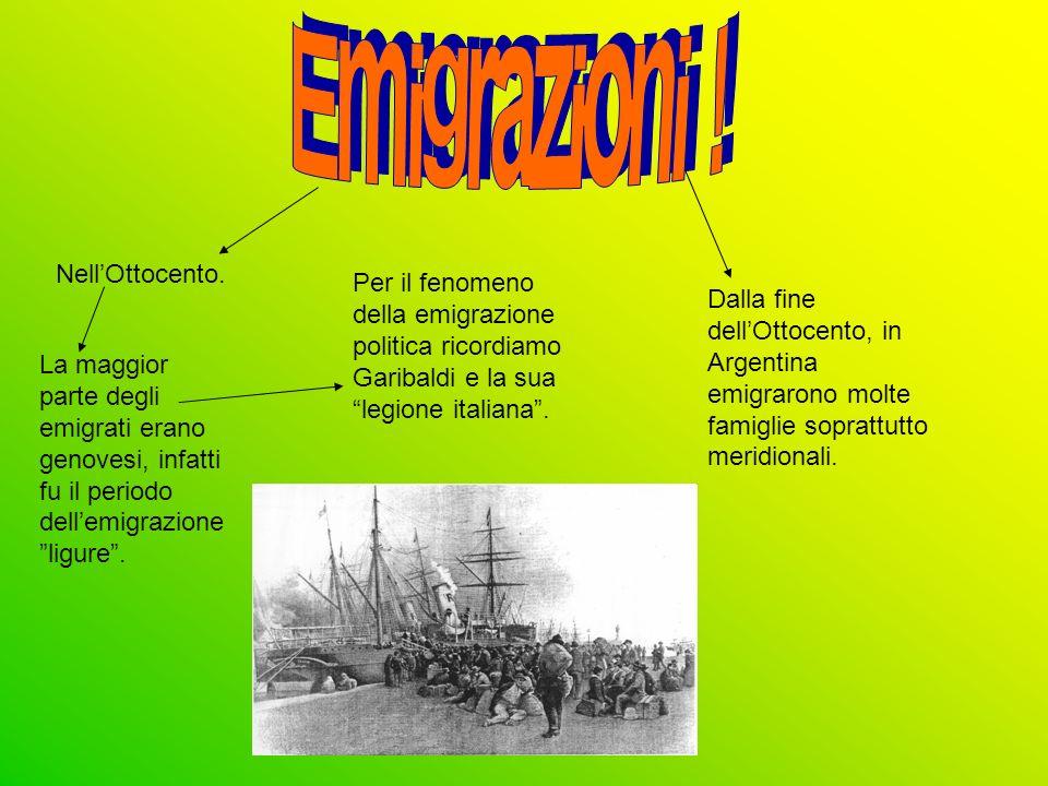 Emigrazioni ! Nell'Ottocento.