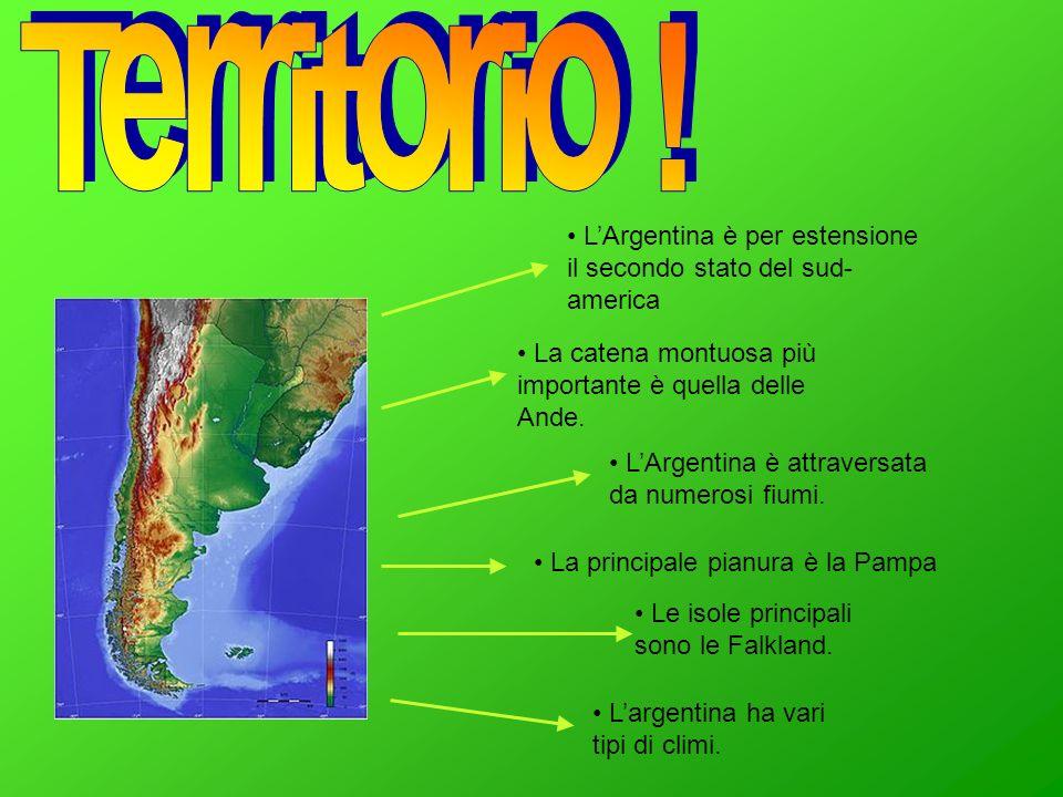 Territorio ! L'Argentina è per estensione il secondo stato del sud-america. La catena montuosa più importante è quella delle Ande.