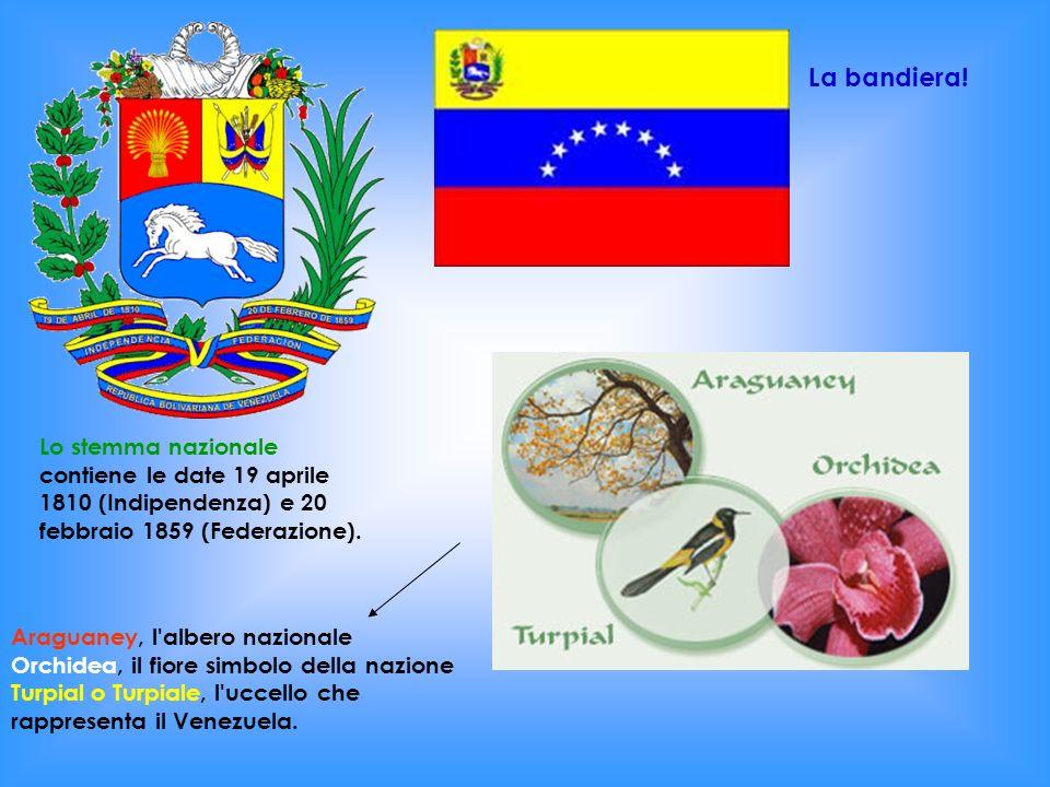 La bandiera!Lo stemma nazionale contiene le date 19 aprile 1810 (Indipendenza) e 20 febbraio 1859 (Federazione).