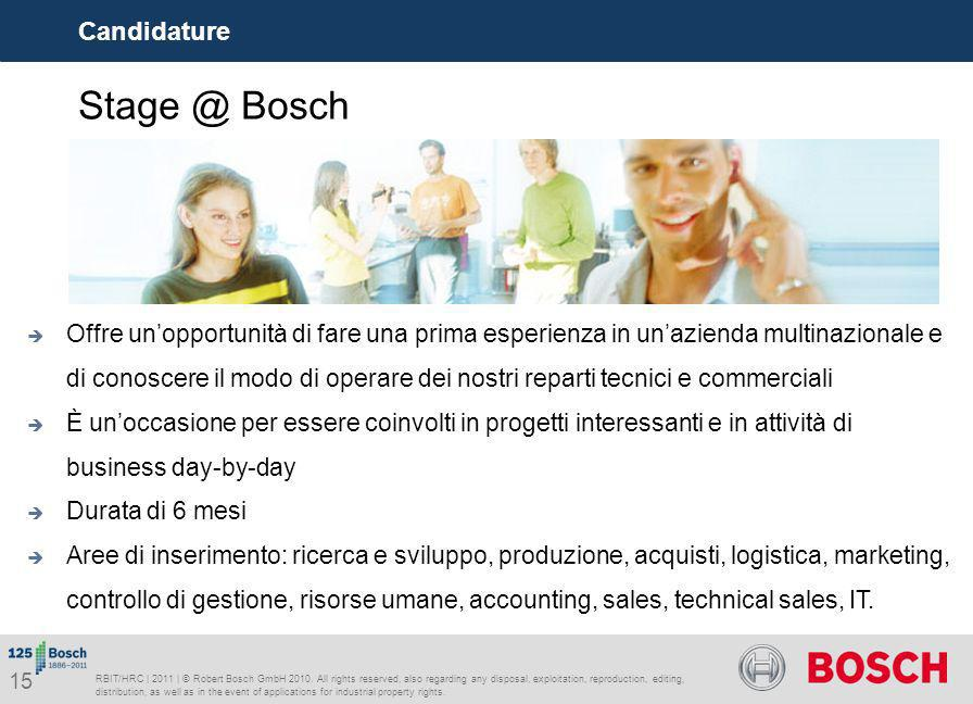 Stage @ Bosch Candidature